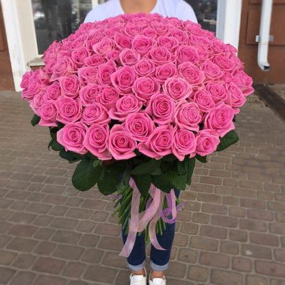Букет розовых роз Аква 101 шт Воронеж