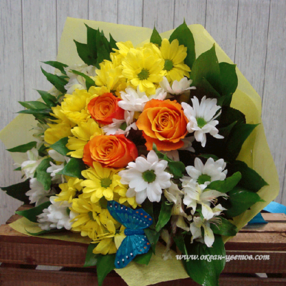 Букет из роз, хризантем альстромерий роз Воронеж