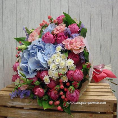 Букет из гортензии, эустомы, розы, хризантемы, статицы Воронеж
