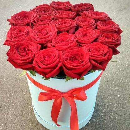 Красные розы в коробке Ред Наоми 15 шт Воронеж