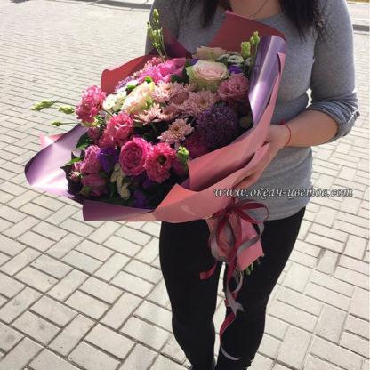 Букет из роз эустомы хризантемы алиума Воронеж 2