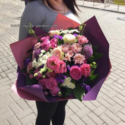 Букет из роз эустомы хризантемы алиума Воронеж