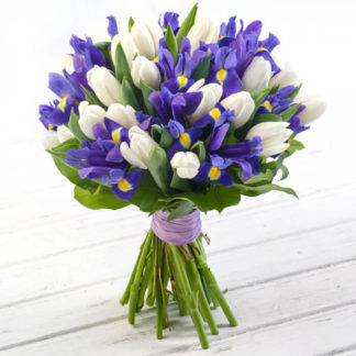 Букет белые тюльпаны и ирисы Воронеж