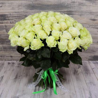 Букет белых роз Мондиаль 101 шт Воронеж 2