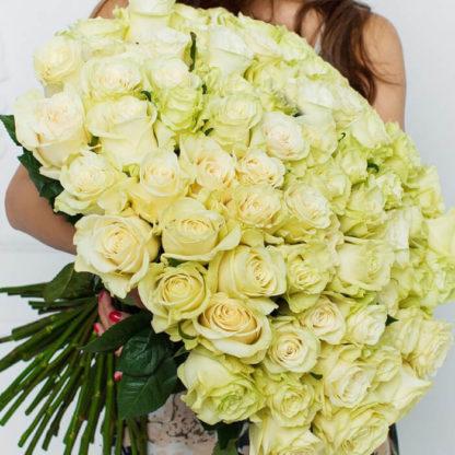 Букет белых роз Мондиаль 101 шт Воронеж