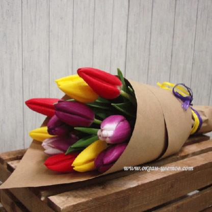 Букет из разноцветных тюльпанов 11 шт Воронеж