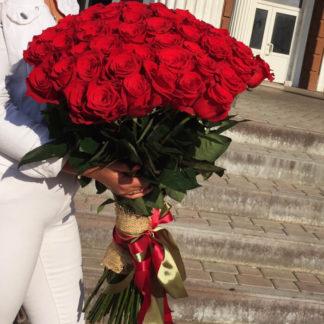 Букет из красных роз Фридом 101 шт Воронеж