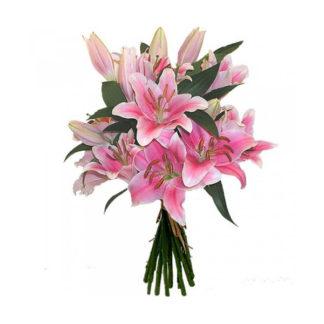 Букет из розовых лилий (9 шт)