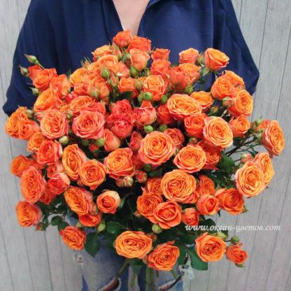 Букет из оранжевых кустовых роз Воронеж