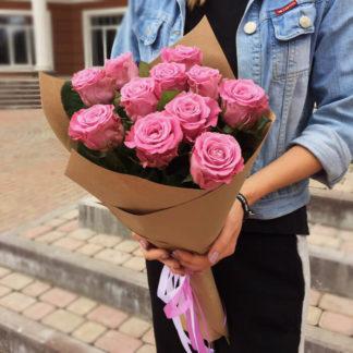 Букет сиреневых розовых роз Маритим 15 штВоронеж