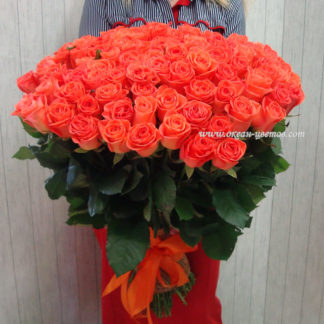 Букет из оранжевых роз Вау 101 шт Воронеж