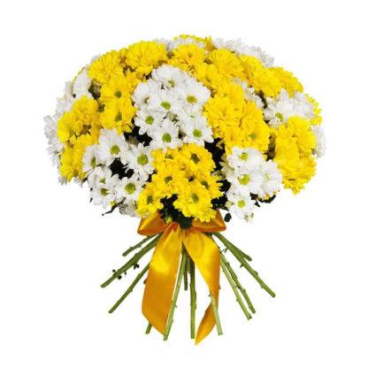 Букет из белых и желтых ромашек хризантемы Воронеж 2