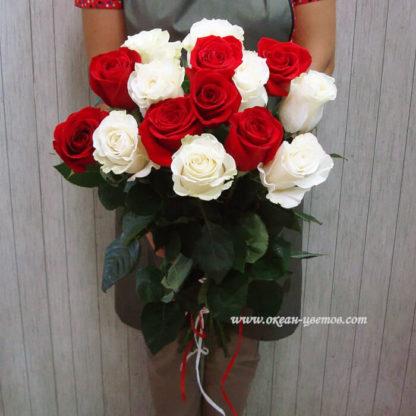 Букет из красных белых роз 21 шт Воронеж 2
