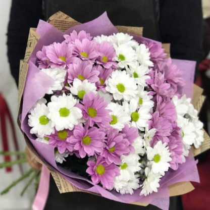 Букет из белых и розовых ромашек хризантемы 15 шт Воронеж