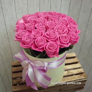 Розовые розы в коробке Аква 21 шт Воронеж