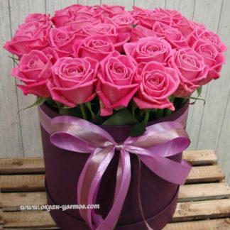 Розовые розы в коробке Аква 35 шт Воронеж