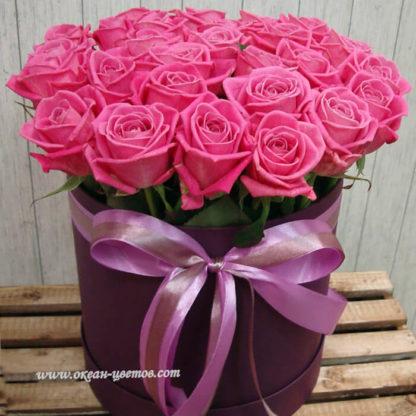 Розовые розы в коробке Аква Воронеж