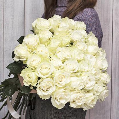 Букет белых роз Мондиаль 35 шт Воронеж