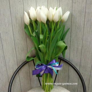 Букет белых тюльпанов 15 шт Воронеж