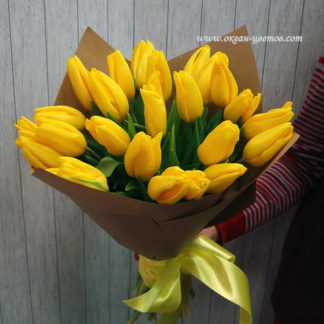 Букет из желтых тюльпанов 25 шт Воронеж