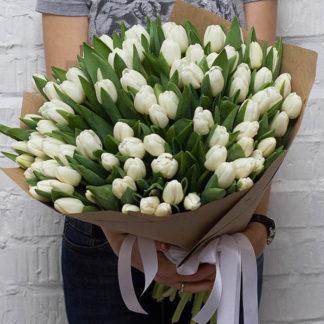 Букет из белых тюльпанов 55 шт Воронеж